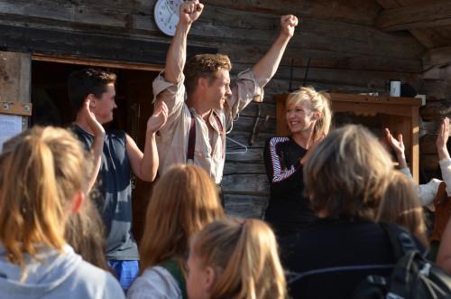 PG 2014 Prepping før start (bak scenen før forestilling 6.8.14) Kjosås, Blokhus og Ousdal